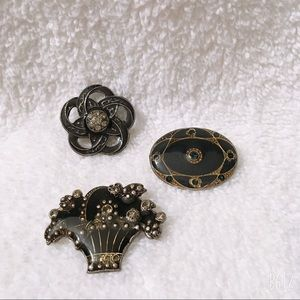 Set of 3 Reproduction Enameled Pins Brooches NEW